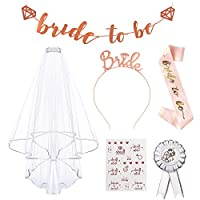 Bride to Be Sash and Veil,AivaToba Hen Party Accessary with Bride to Be Banner, Badge, Bride Headband Tiara, Tattoos,Hen Do Accessories for Bridal Shower,Bachelorette Party,Hen Night Party Decoration