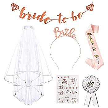 Tattoos,Hen Do Accessories for Bridal Shower Hen Party Decoration kuou Bride to Be Sash and Veil Hen Party Set Hen Party Accessories with Bride to Be Banner Bride Headband Tiara Badge