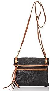 italienische Damen Umhängetasche Barcelona aus echtem Leder in schwarz und braun, Made in Italy, Handtasche 22x24cm