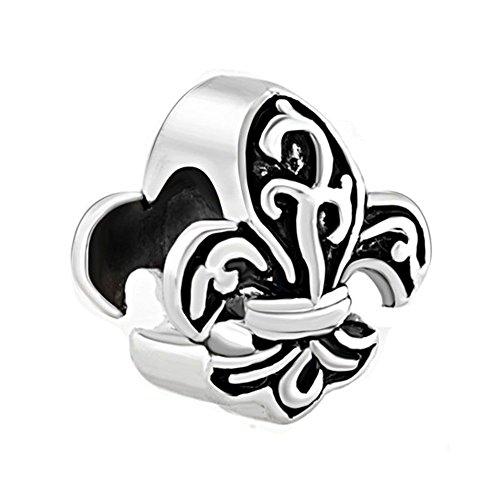 Uniqueen Schmuck Fleur de Lis Armband Anhänger, Chamilia kompatibel (Fleur De Pandora Lis Charme)