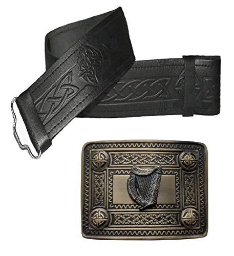 Maze Schottische KiltGürtel mit Schnalle - Leder Gürtel - Schwarz - Viele Größen und Designs zur Auswahl