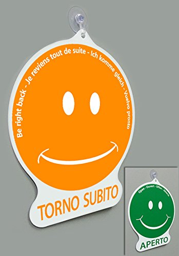 Cartel 'Torno Subito' o 'Aperto', en forma de emoticono, para tiendas, vitrinas, estudios, laboratorios, talleres