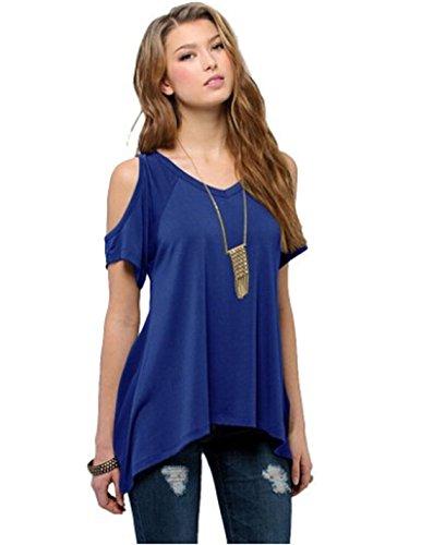 donna-manica-corta-spalla-off-ampio-orlo-design-loose-elasticizzato-top-camicia-camicetta-blue-mediu