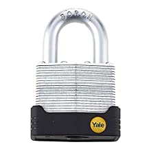 Yale Y127/55/129/1 High Security Anti Cut Laminated Padlock, Yellow, 45mm, pack of 1, suitable for outdoor use
