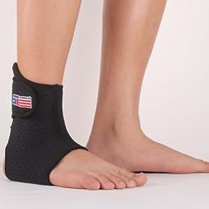 Black Sports Basketball Elastic Ankle Foot Brace Support Wrap Adjustable
