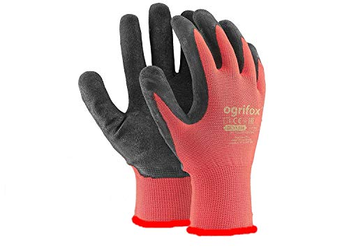 24 pares de guantes de trabajo con revestimiento de látex, de seguridad, duraderos y con adhesivo redondo AJS LTD® (M-8)