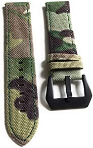 2 Piece 22mm Military Style Watch Band Strap - Light Green Camo with Black Buckle and Quick Release Pins - Cam