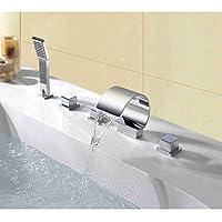 JOE Rubinetto,Piattaforma contemporanea pubblicato tripla cascata spray maniglia rubinetto del bagno con doccia