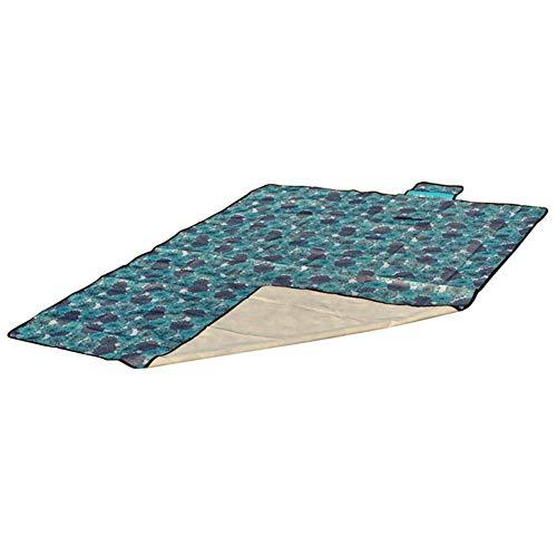 Picknickdecke Wasserdicht Outdoor, Stranddecke Outdoordecke Kariert Cyan-blaue Blume 150 * 200