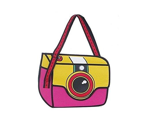 MissFox Ragazze 3D Spalla Messaggero Macchina Fotografica Portafoglio Borse Rose