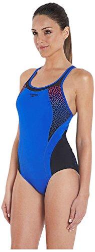 Speedo Damen Badeanzug Spdfit Pinnacle Kbck AF, Blue/Black, 42, 8-09657A012