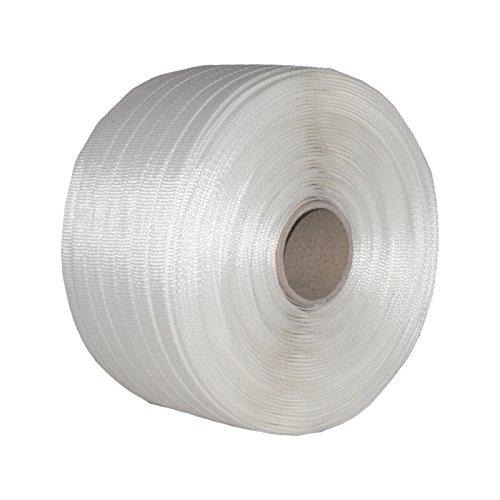 2 Rollen Textil gewebt HD Umreifungsband Breite 19 mm Länge je 400 m Reißfestigkeit 975 KG Kern 76 mm Polyester-textil