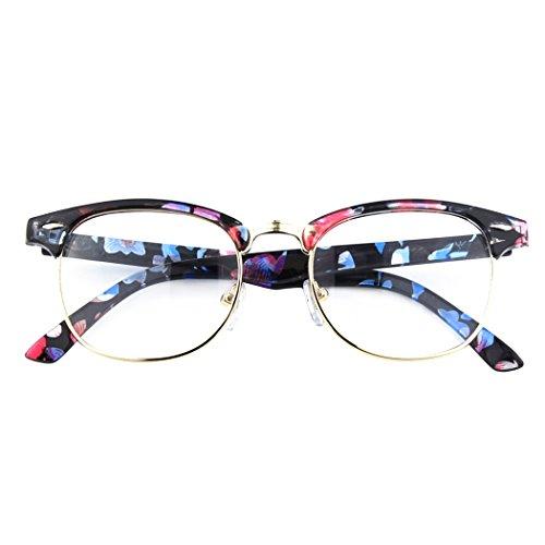 CGID 50er Jahre Retro Nerd Brille Halbrahmen Hornbrille Stil Rockabilly Streberbrille,multicolored A