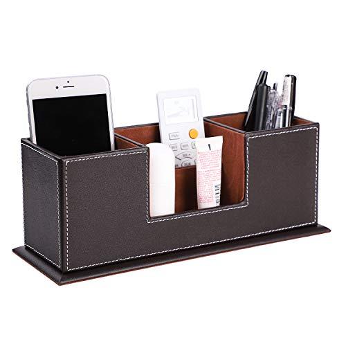 Multifunktionale Schreibtisch Stifte Organizer Stiftehalter Stiftablagen mit 4 Fächern aus PU-Leder Officebox Bürobedarf Schreibwaren Behälter Ordungbox Organisator Braun