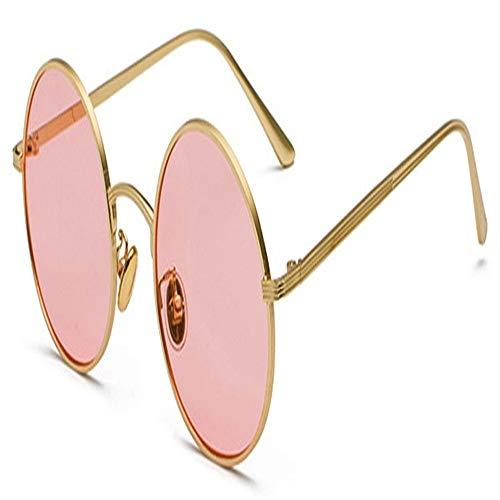 Frauen Sonnenbrillen Mit Roten Linsen Runden Metallrahmen Vintage Retro-Brille Sonne For Männer Unisex-Geburtstagsgeschenke (Color : Gold with pink)