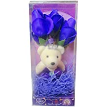 ATORAKUSHON BOUQUET HERAT SOFT COUPLE TEDDY WITH SCENTED ROSE FLOWER SOFT TEDDY BEAR LOVE VALENTINE COUPLE BIRTHDAY GIFT For anniversary Kiss Day Gifts - Greeting Card, Soft Teddy,Artificial Flower