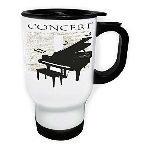 Klavierkonzert Musical Notes Weiß Thermischer Reisebecher 14oz 400ml Becher Tasse x894tw