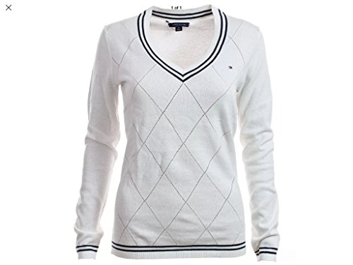 Tommy Hilfiger Pullover, Women's Diamond Knit V-Neck Sweater, Medium