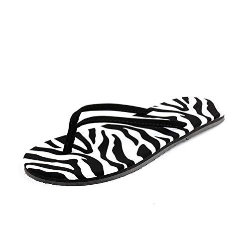 Einfach Zebra (Einfache Damen Flat Bottom Flip Flops (Color : Zebra Color, Size : 6.5 M))