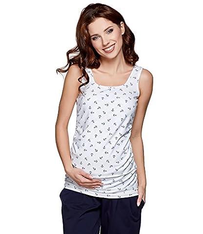 Be! Mama Still-Shirt, Still-TOP, Umstandstop, Schwangerschaftsshirt, Modell: SIMPLE, weiss mit Anker, Größe SM