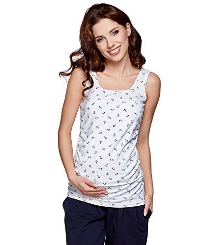 T-shirt pour allaitement, débardeur pour allaitement, top pour grossesse, t-shirt pour grossesse, modèle: SIMPLE weiss mit Anker