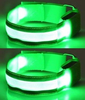 Brazaletes reflectantes para correr ILLUMINii ®, recargables, alta visibilidad, juego de 2 unidades, con luces led y tiras reflectantes - Luces led intermitentes o estáticas, para correr, practicar senderismo o ciclismo por la noche. Batería recargable por USB, sin pilas.