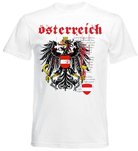 T-Shirt Herren Nationalhymne WM EM Fussball Sport Freizeit, Weiß, M ()