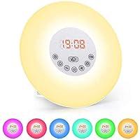 Lichtwecker, solawill Wake Up Licht mit FM Radio Digitaluhr Licht 6 natürlichen Sounds Snooze Funktion 6 Farbige 10 Dimmstufen LED Lichter Touch Control Nachttischlampe für Erwachsene und Kinder