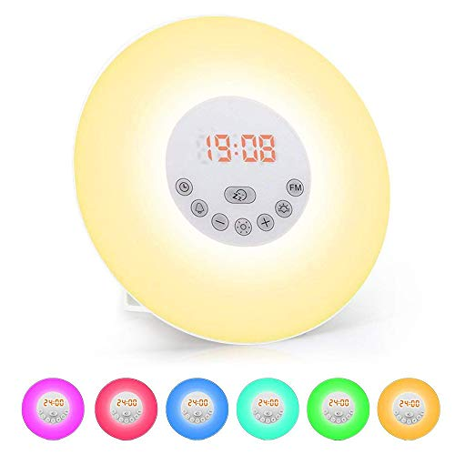 Luces-despertador, solawill Wake Up Light Simulación de Amanecer y Atardece Radio FM 6 Luces LED de Colores 6 Sonidos Naturales 10 Niveles de Brillo USB Recargable Táctil Despertador de Luz