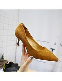 Xue Qiqi Zapatos de la Corte Tacones Negros Hembra Fina con Medio  Puntiagudo con Zapatos de Trabajo Profesionales Zapatos Poco… bd2546174f4a