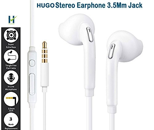 Hugo Stereo Earphone Handsfree With Mic Compatible with Samsung, Motorola, Sony, Oneplus, HTC, Lenovo, Nokia, Asus, Lg, Coolpad, Xiaomi, Micromax and All Smartphones, Laptop, Desktop PC, MP3 Player, PSP, Gaming Pad Having 3.5mm Jack  available at amazon for Rs.149