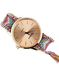 Reloj - GENEVA Reloj de pulsera de cadena trenzada de mujer (Modelo 9)