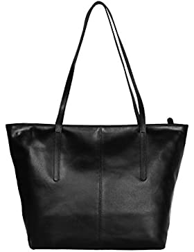 Leder Handtaschen für Frauen Leder Tote Umhängetasche Einkaufen Geschenk für Sie (Schwarz)