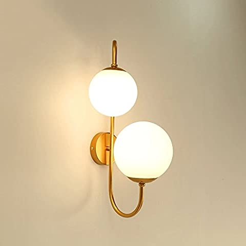 Modeen Modern Simple Double Heads Iron Round Glass Lampshade Wall Sconce Light Living Room Art Restaurant Bedside Aisle Barn Warehouse Wall Lamp ( Color : Aged Brass
