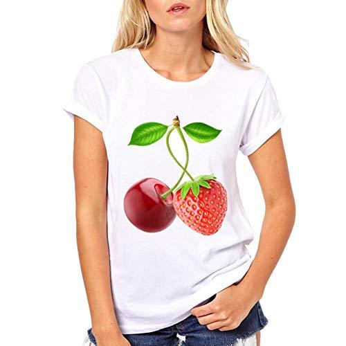 LIULINUIJ Frauen-T-Shirt Frau Sommer Top Weiß Kurzarm O-Neck T-Shirt Kirsche Und Erdbeere Zusammen Tees Frauen Frauen Funny T-Shirt