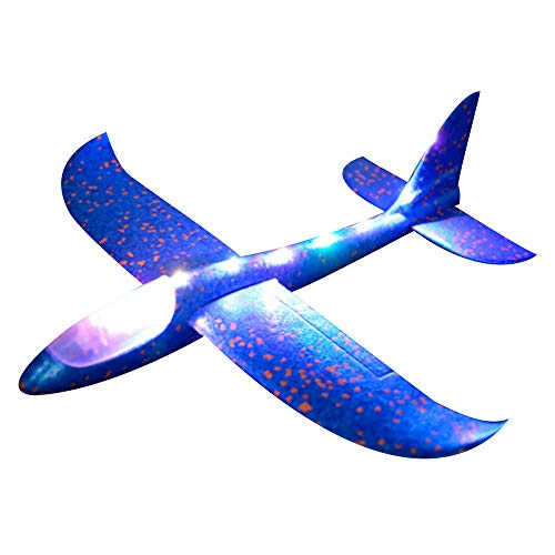 Voberry Foam Throwing Glider Airplane Inertia LED Aircraft Toy Hand Launch Airplane Model (Blue)