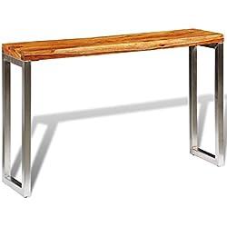 vidaXL Mesa marrón consola de madera Sheesham con patas de acero hecha a mano