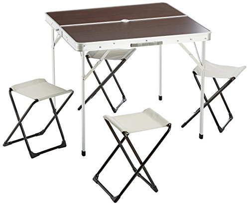Picknick-tisch Stühlen Mit Folding (Outsunny Camping Sitzgruppe 5 tlg. Picknicktisch Campingtisch Klapptisch Sitzgarnitur Metall)