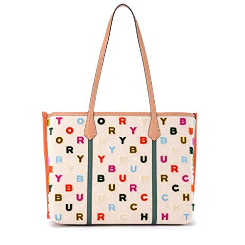 Tory Burch Borsa a spalla Perry Fil Couple in canvas naturale con logo multicolor