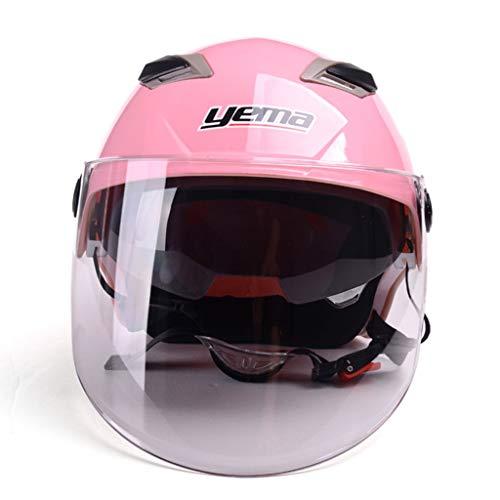 MFKJB Halber Motorradhelm Schnellverschlussgurt Fit Motorrad Street Bike Modular/Klappbarer Doppelvisier- / Sonnenschutzhelm (Color : Pink)