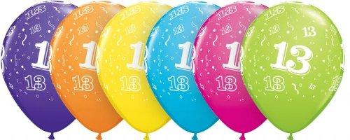 6 Luftballons Zahl 13 Geburtstag Deko Zahlenballon 13 farbig sortiert ca. 28 / 30 cm (Ballongas geeignet) Deko 13 Geburtstag