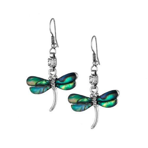 Libellen Ohrring Schmuck Perlmutt Ohrstecker Frau Silberfarbig Edel Luxus Deluxe Modern Elegant