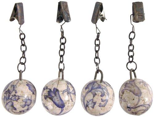 Esschert Design Tischtuchgewicht, Tischdeckenhalter aus Keramik in blau-weiß, Ø ca. 3,2 cm (Keramik-gewichte)