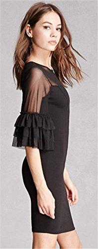 Sexy 3/4-Arm 3/4-Ärmeln Rüschensaum Weiten Ärmeln Glockenärmel Transparentes Netz Netzeinsatz Minikleid Bodycon Etui Etuikleid Figurbetontes Dress Kleid Schwarz Schwarz