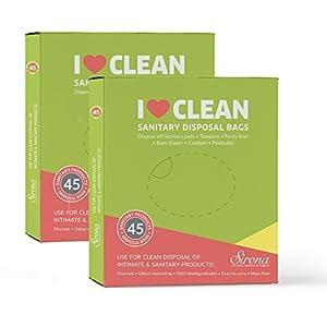 Sirona Sanitary Disposal Bags | for Discreet Disposal of Tampons, Condoms, Diaper, Sanitary Pads, Panty Liner | Bathroom Trash Bag