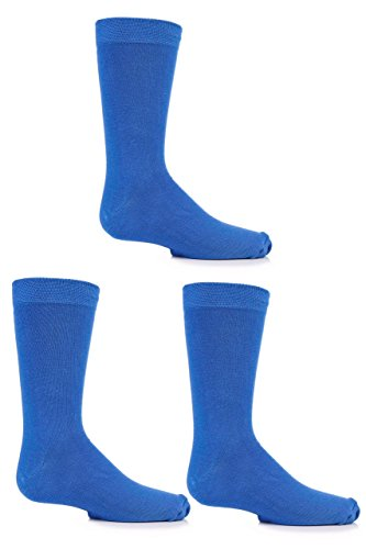 Jungen und Mädchen 3 Paar SockShop Einfarbige Bambus Socken mit Komfortmanschette und Handverknüpfte Zehen - Denim 27-31 (Komfort Shop)