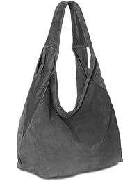 CASPAR TL618 Damen Ledertasche Shopper Beuteltasche Hobo Bag aus echt Leder Wildleder