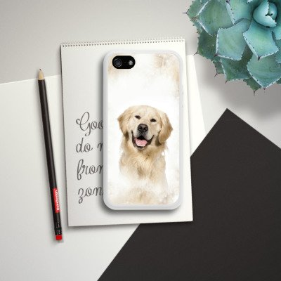 Apple iPhone 3Gs Housse étui coque protection Golden Retriever Chien Chien Housse en silicone blanc