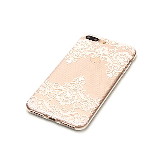 iPhone 7 Plus Custodia, Fiore Nero Cartoon Case Pittura Pattern Morbido TPU Cover Silicone Gomma Gel Crystal Transparent Clear Ultra sottile iPhone 7 Plus copertura, Graffi Prova # # 11
