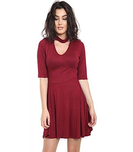 Janisramone - Robe - Robe de swing - Uni - Manches Courtes - Femme * taille unique Bordeaux